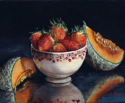 Fraises et melon 24X16