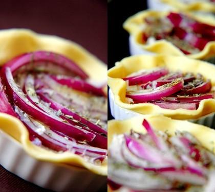 Tartelette aux poireaux et oignons rouges